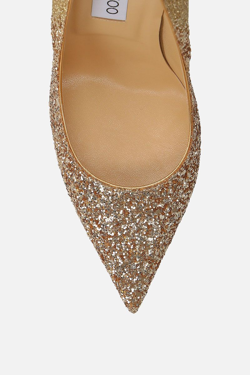 JIMMY CHOO: Anouk pumps in glitter fabric Color Gold_4