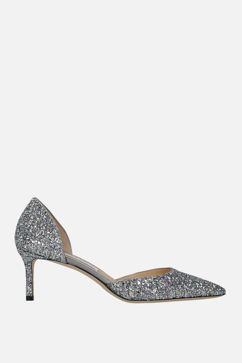 JIMMY CHOO: Esther d'orsay pumps in glitter fabric Color Silver_1