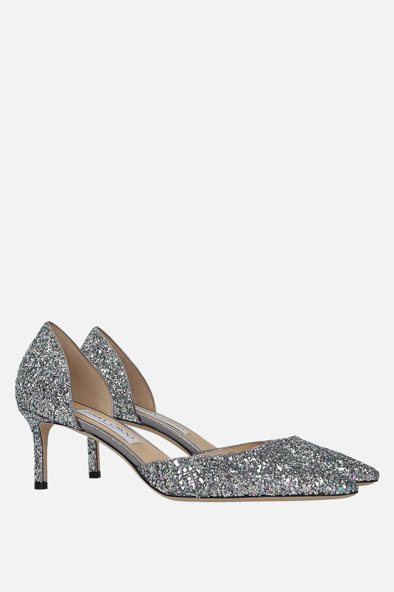 JIMMY CHOO: Esther d'orsay pumps in glitter fabric Color Silver_2