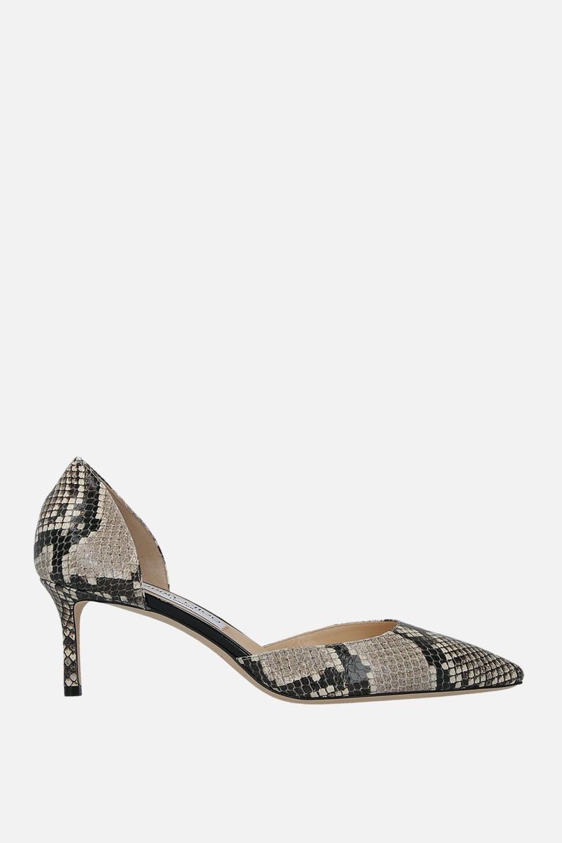 JIMMY CHOO: Esther d'orsay pumps in python embossed leather Color Neutral_1