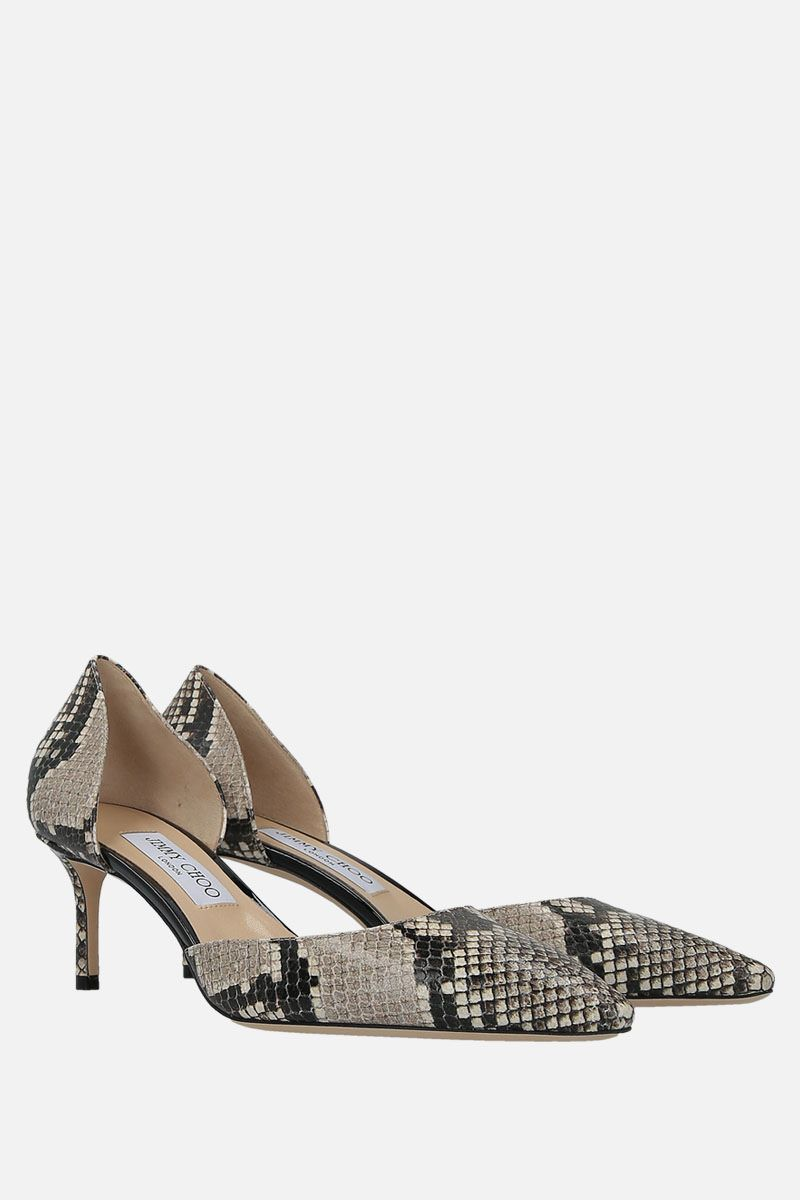 JIMMY CHOO: Esther d'orsay pumps in python embossed leather Color Neutral_2