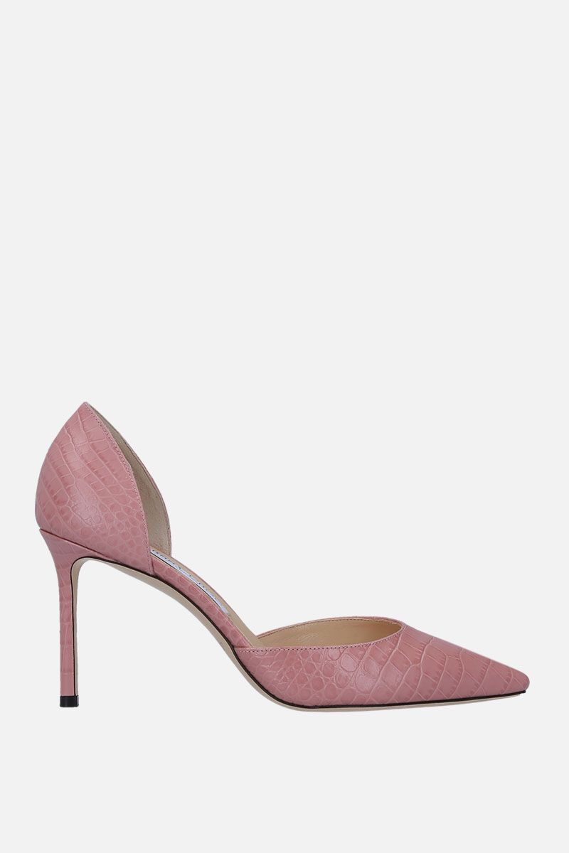 JIMMY CHOO: Esther d'orsay pumps in crocodile embossed leather Color Pink_1