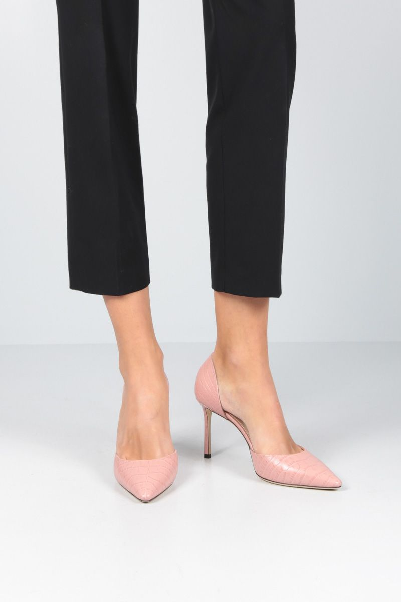 JIMMY CHOO: Esther d'orsay pumps in crocodile embossed leather Color Pink_2