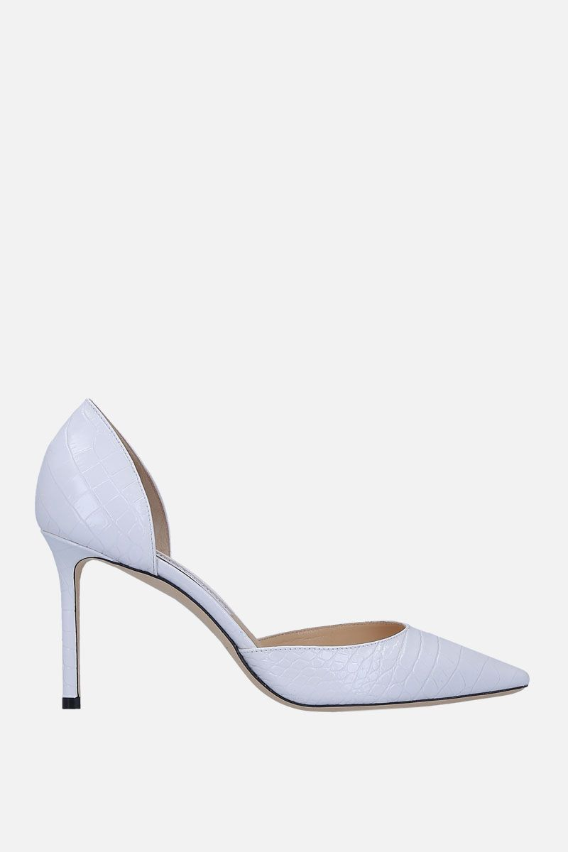 JIMMY CHOO: Esther d'orsay pumps in crocodile embossed leather Color White_1
