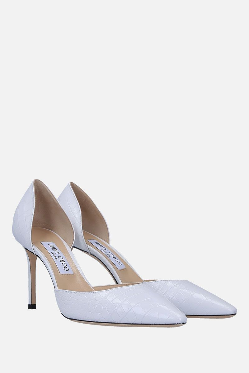 JIMMY CHOO: Esther d'orsay pumps in crocodile embossed leather Color White_2