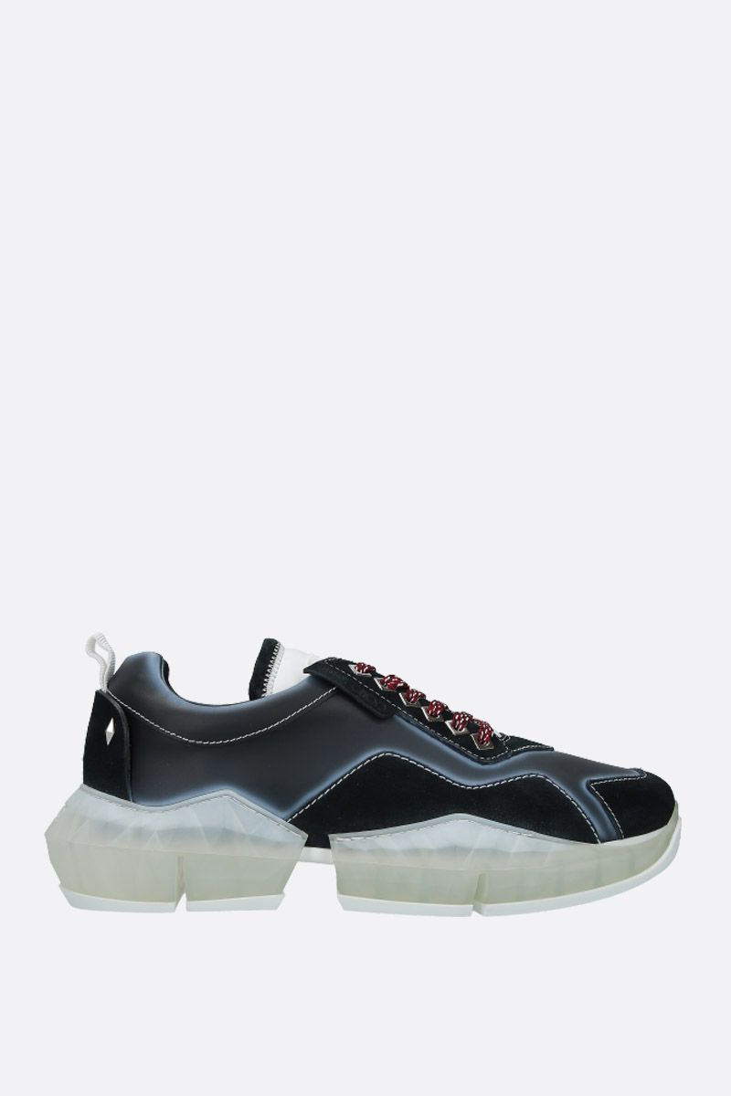 JIMMY CHOO: Diamond/M smooth leather and suede sneakers Color Black_1