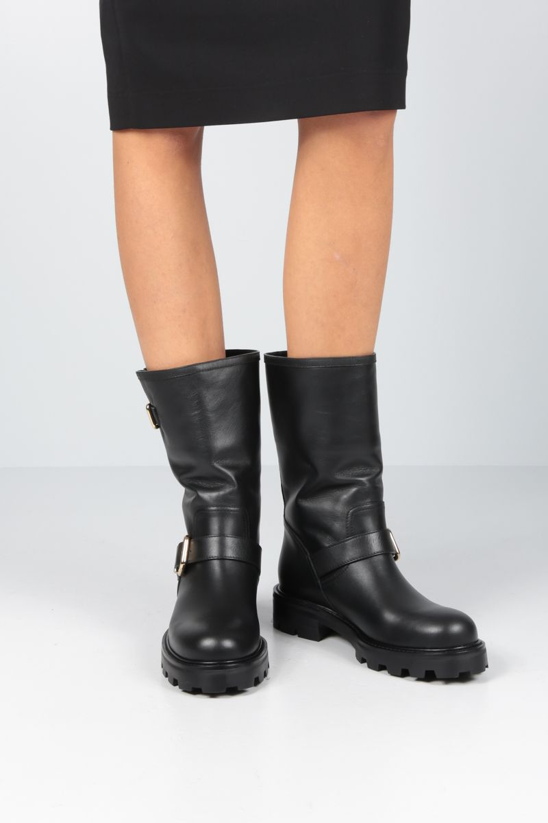 JIMMY CHOO: Biker II boots in smooth leather Color Black_2