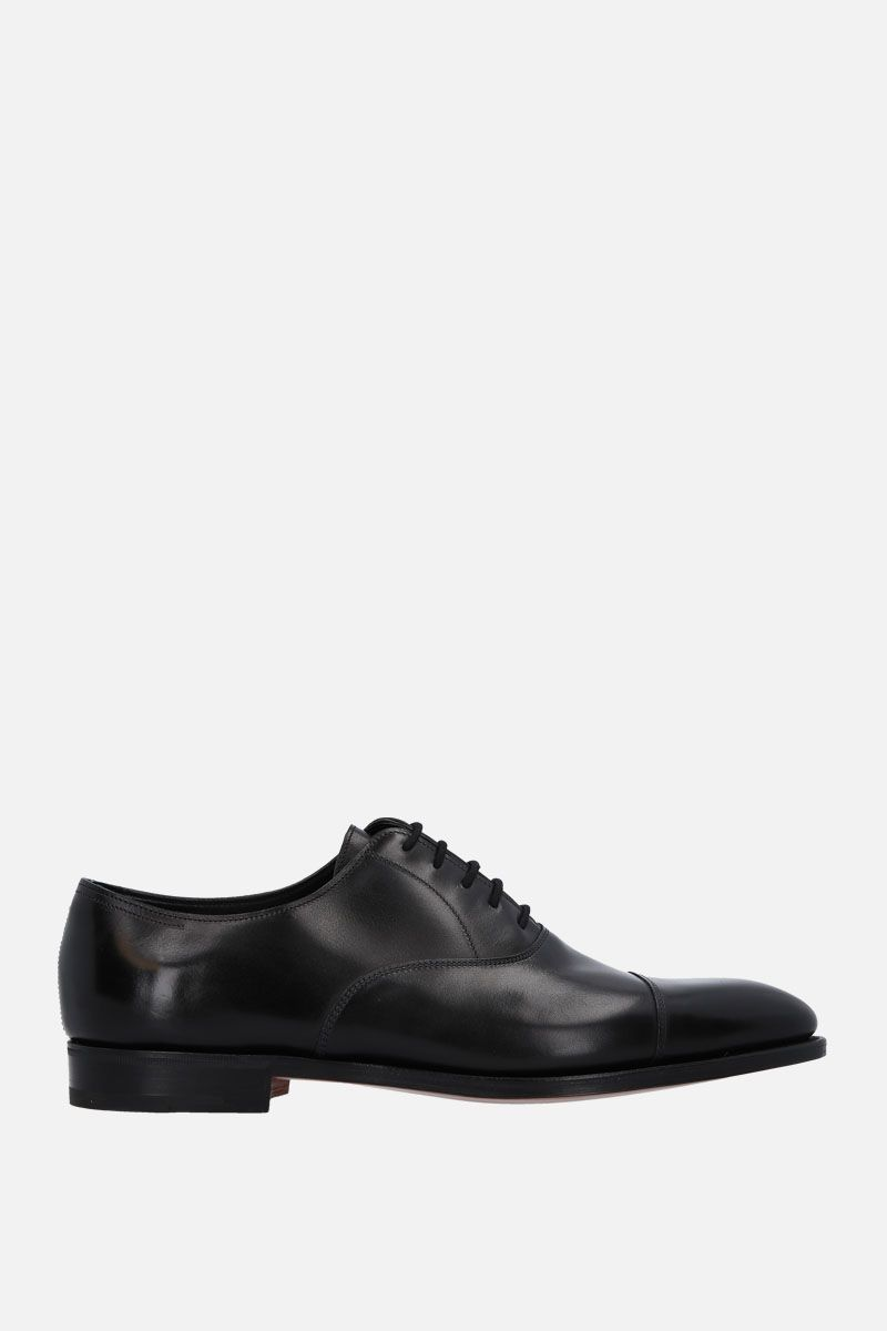 JOHN LOBB: City II oxford shoes in Museum leather Color Black_1