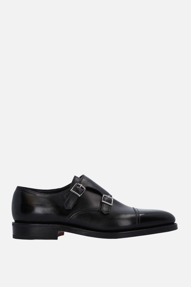 JOHN LOBB: William monk strap shoes in Museum leather Color Black_1