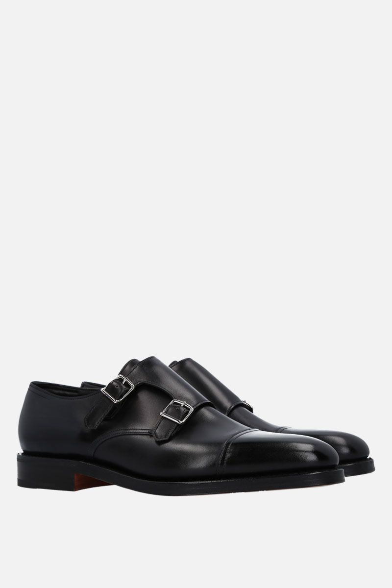 JOHN LOBB: William shiny leather monk strap shoes Color Black_2