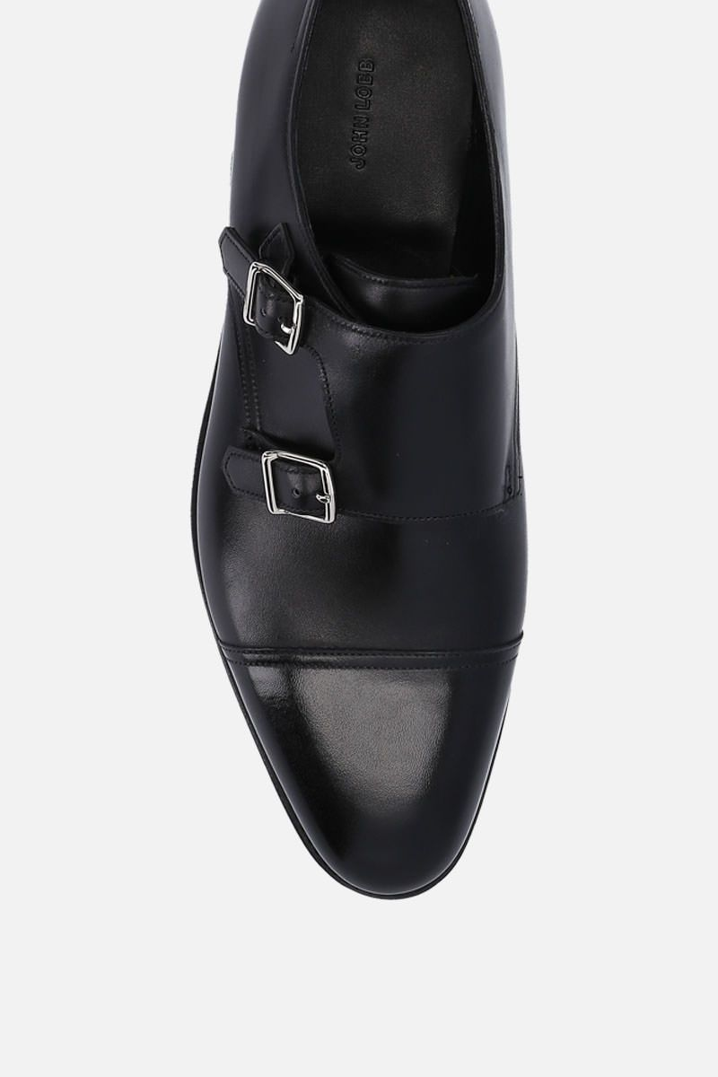 JOHN LOBB: William monk strap shoes in Museum leather Color Black_4