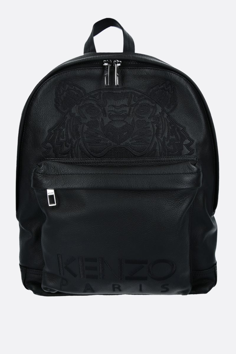 KENZO: Tiger smooth leather backpack Color Black_1