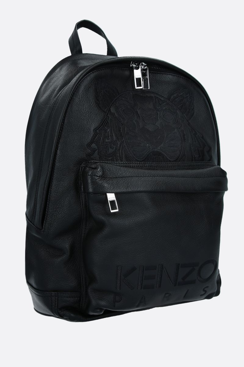 KENZO: Tiger smooth leather backpack Color Black_2