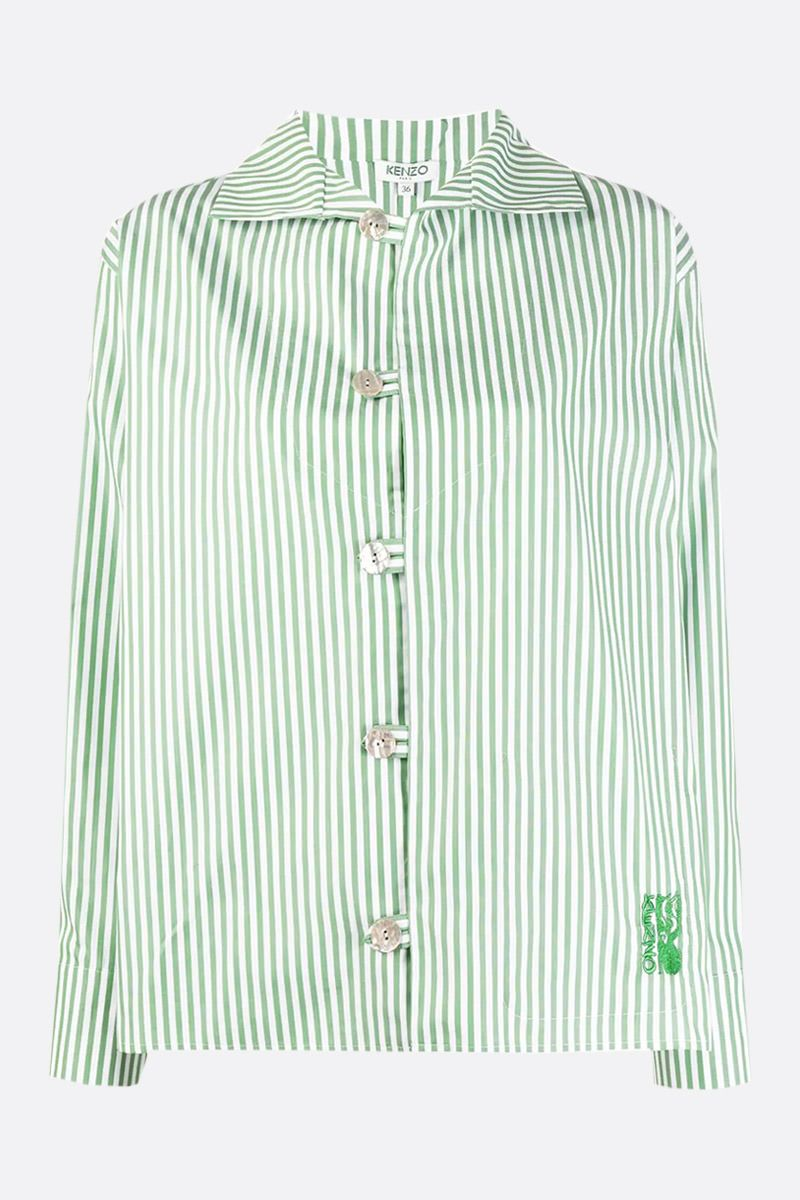 KENZO: logo embroidered striped cotton shirt Color Red_1