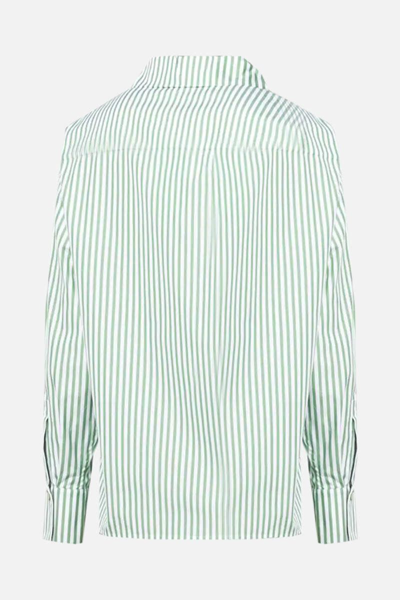 KENZO: logo embroidered striped cotton shirt Color Red_2