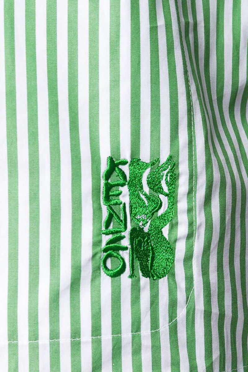 KENZO: logo embroidered striped cotton shirt Color Red_3