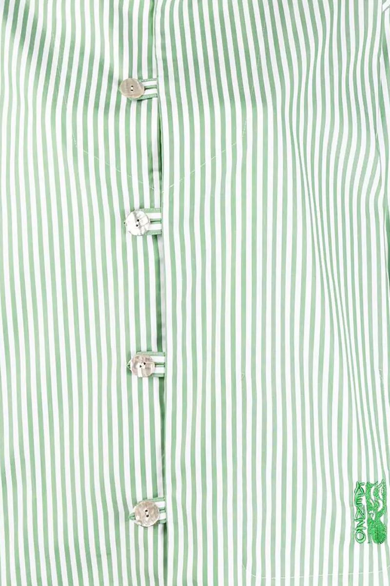 KENZO: logo embroidered striped cotton shirt Color Red_4