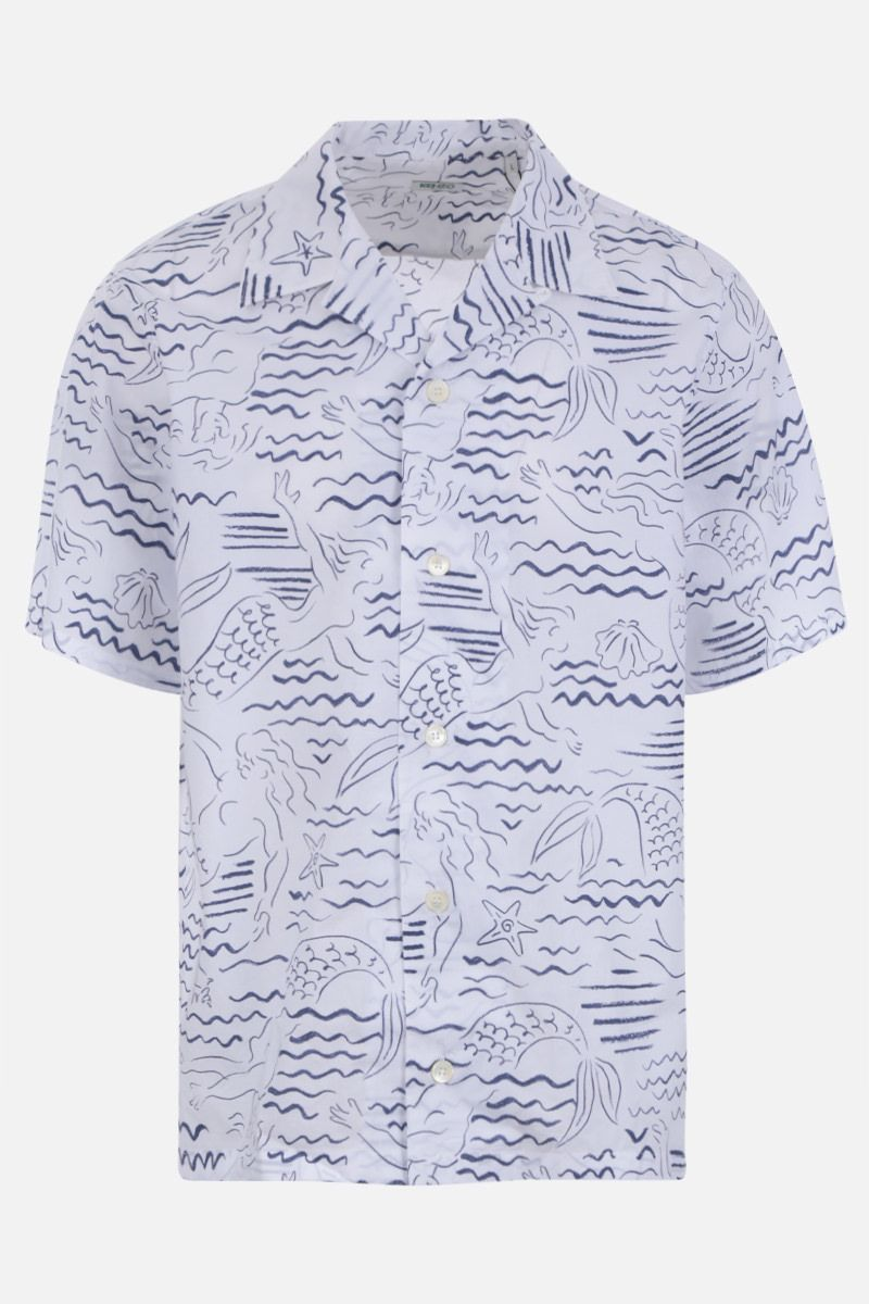 KENZO: Mermaids print cotton bowling shirt Color White
