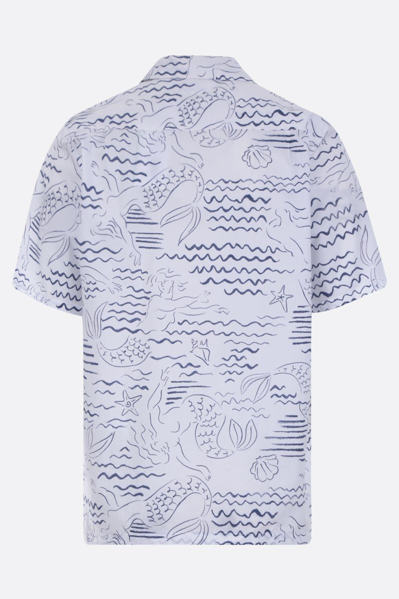 KENZO: Mermaids print cotton bowling shirt Color White_3