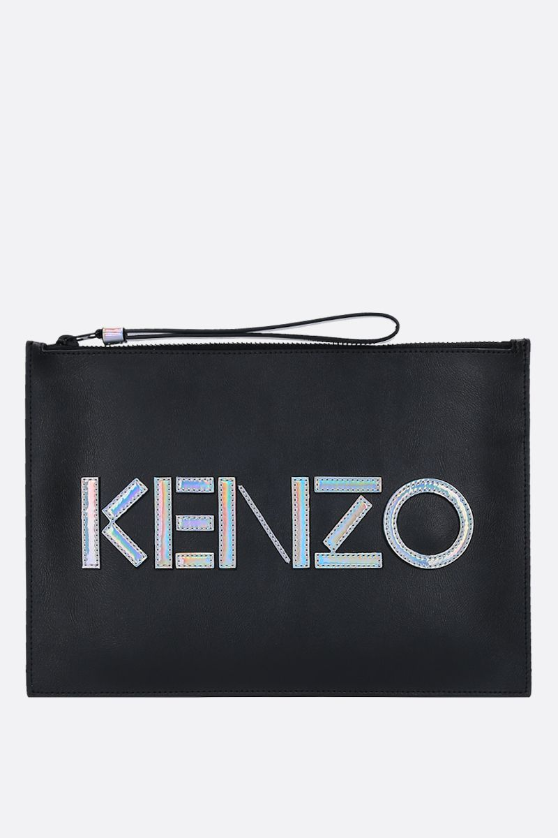 KENZO: A4 Kenzo Kontrast clutch in smooth leather Color Black_1
