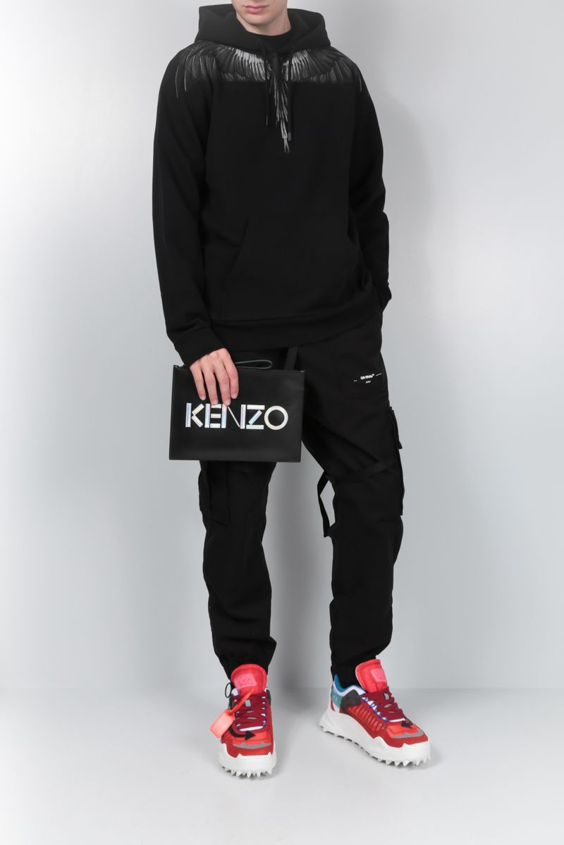 KENZO: A4 Kenzo Kontrast clutch in smooth leather Color Black_2