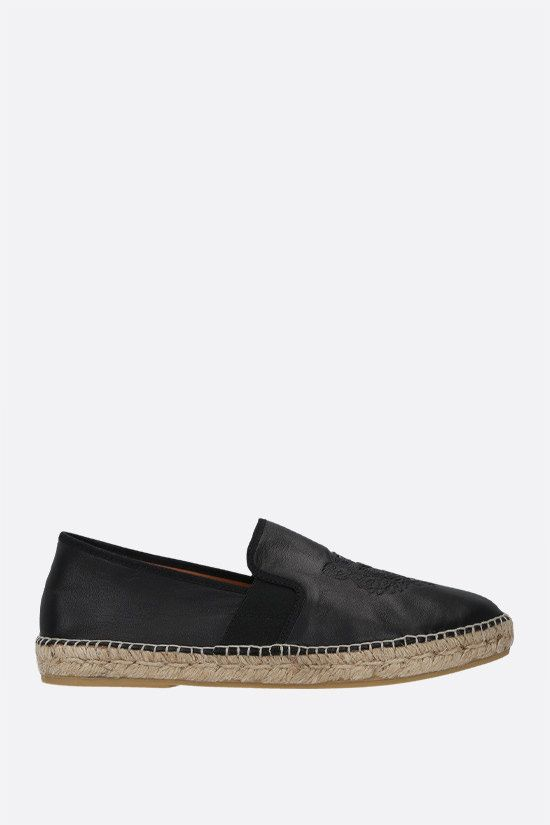 KENZO: Tiger smooth leather espadrilles Color Black_1