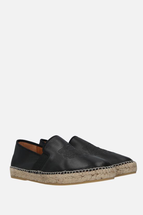KENZO: Tiger smooth leather espadrilles Color Black_2