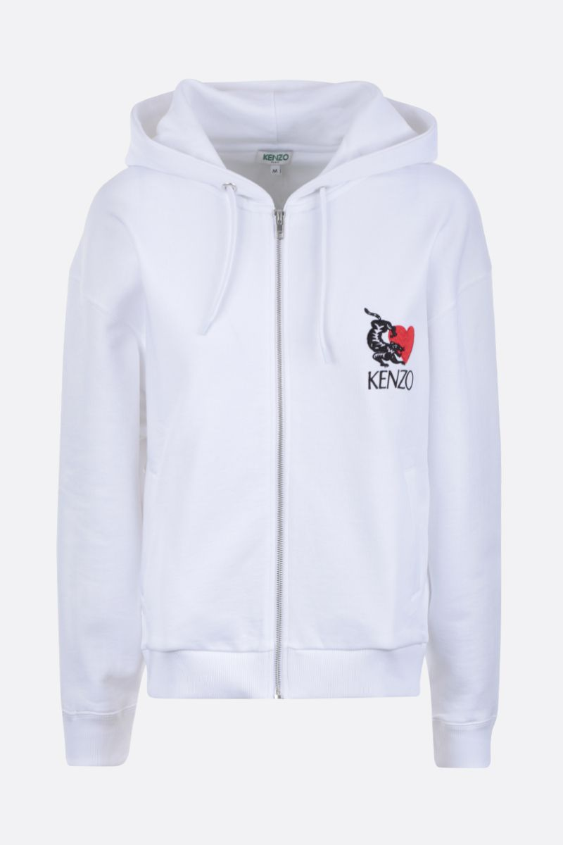 KENZO: Lucky Tiger cotton full-zip hoodie Color White_1