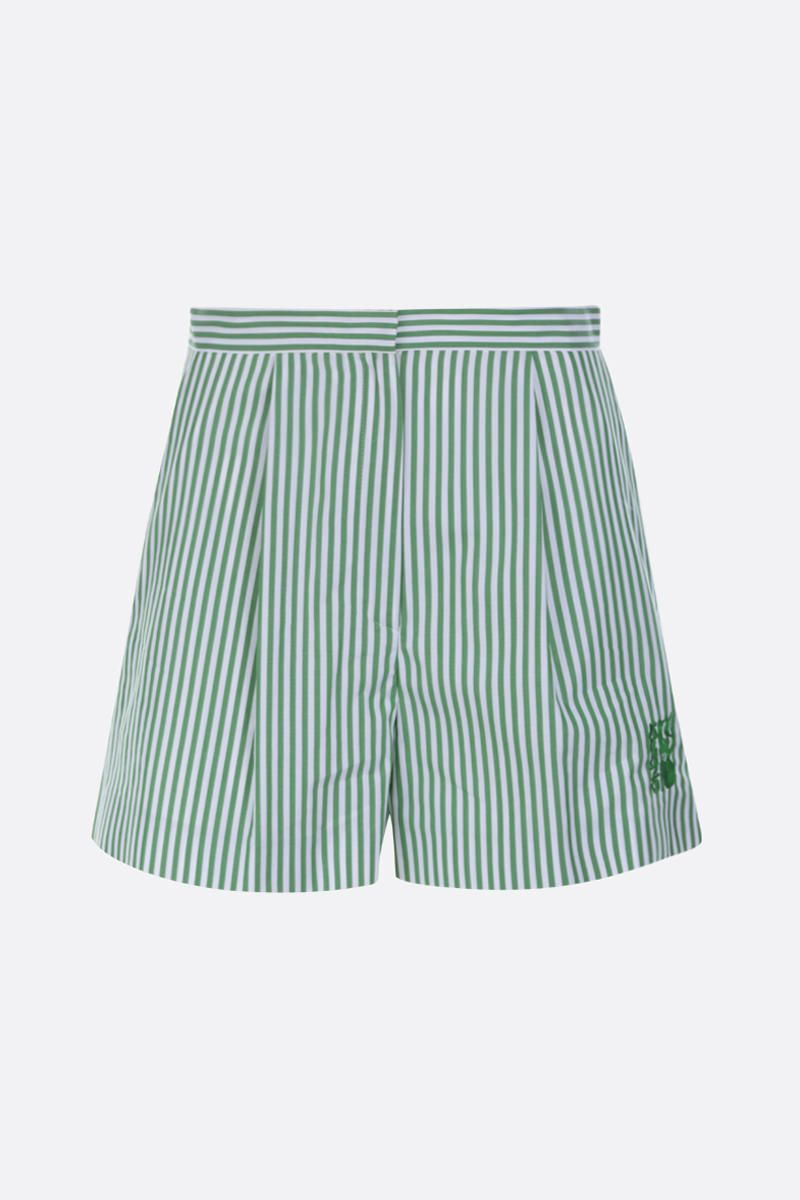 KENZO: striped cotton darted shorts Color Red_1