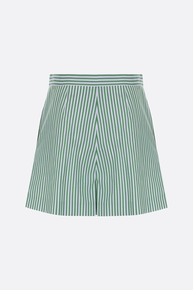 KENZO: striped cotton darted shorts Color Red_2