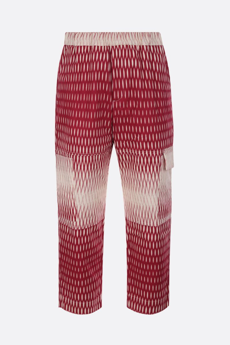 KENZO: graphic print cotton cropped pants Color Red_1