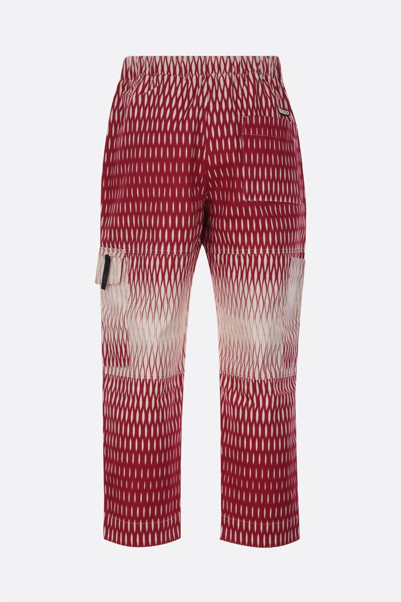 KENZO: graphic print cotton cropped pants Color Red_2
