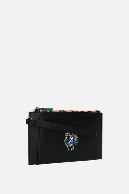 KENZO: Tiny Tiger smooth leather pouch wallet Color Black_2