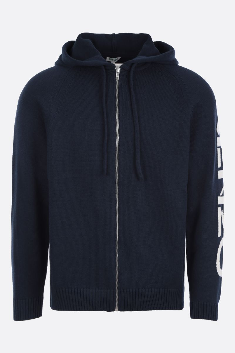 KENZO: cotton blend hooded pullover Color Blue_1
