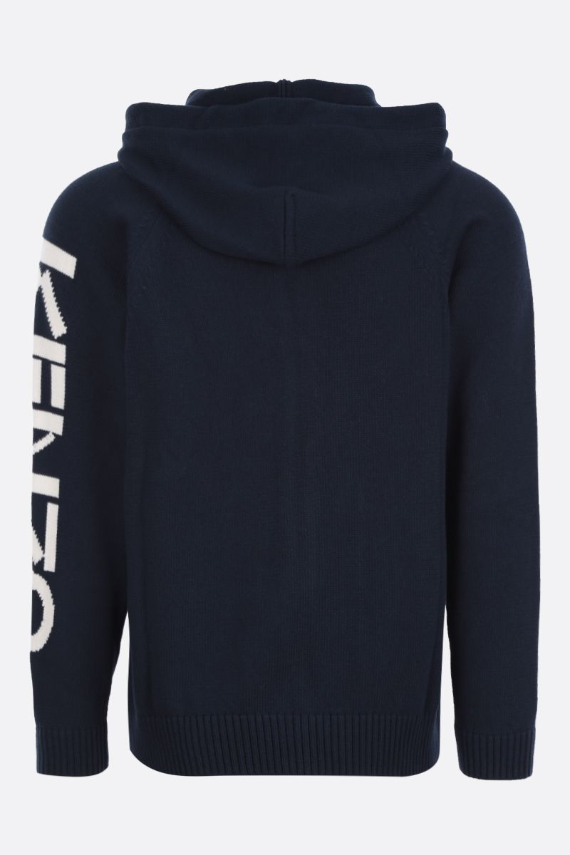 KENZO: cotton blend hooded pullover Color Blue_2