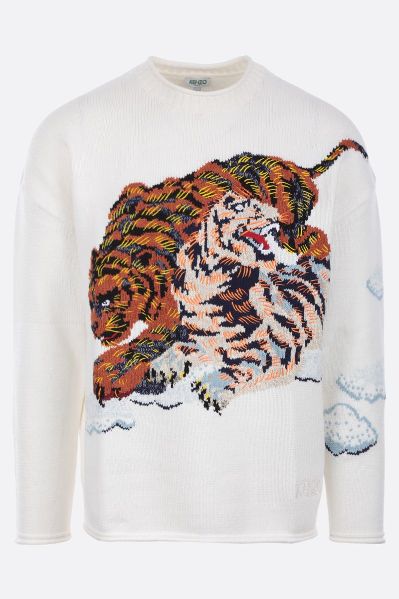 KENZO: Cloud Tigers cotton blend pullover Color Neutral_1