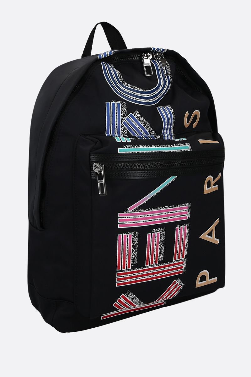 KENZO: Kenzo Logo large nylon backpack Color Black_2