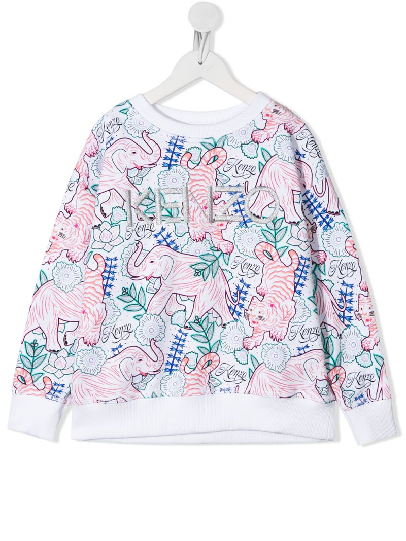 KENZO KIDS: felpa Disco Jungle in cotone Colore Neutro_1