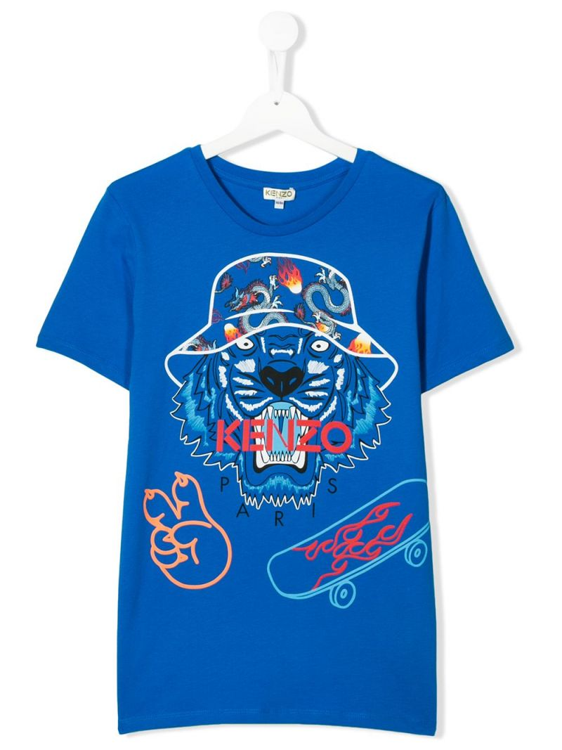 KENZO KIDS: Cali Party Tiger cotton t-shirt_1