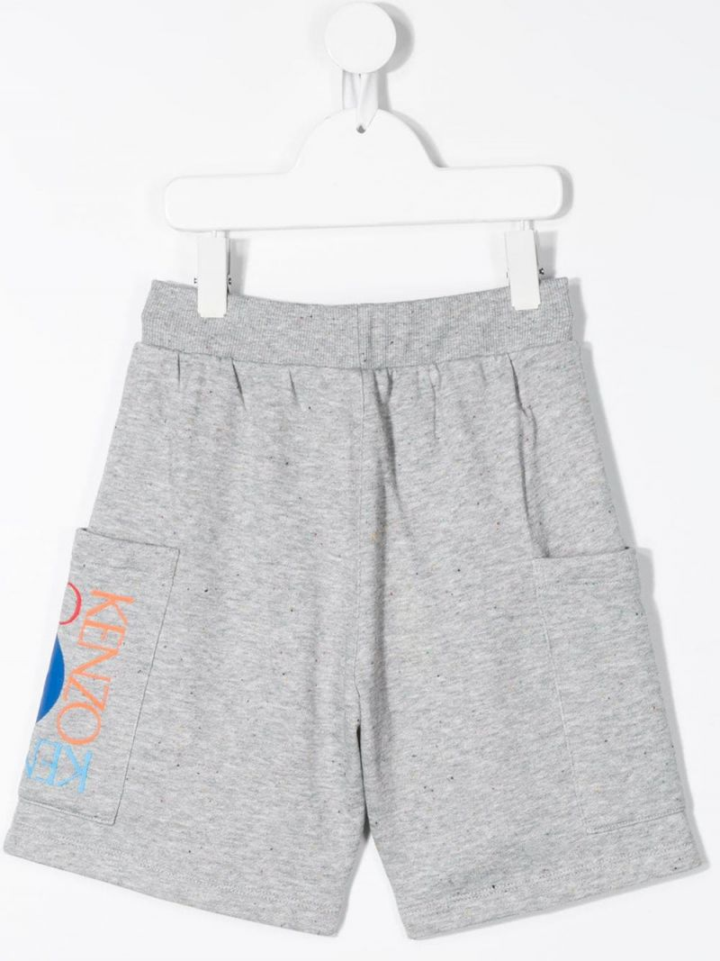 KENZO KIDS: Square Logo cotton blend shorts Color Grey_2