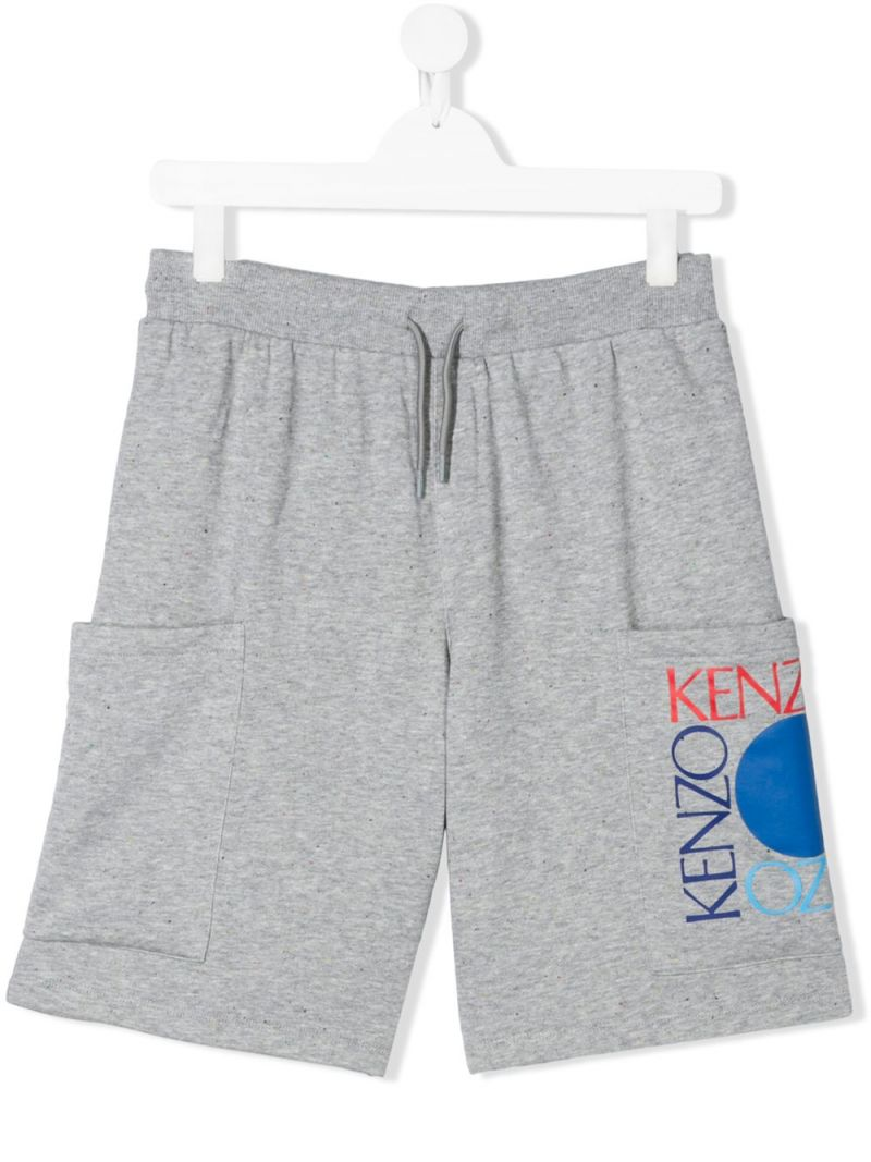 KENZO KIDS: Square Logo cotton blend shorts Color Grey_1