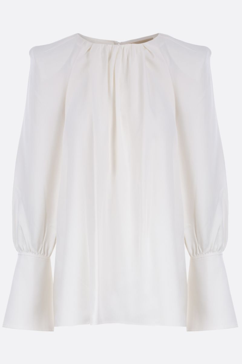 KHAITE: Kristy crepe envers satin blouse Color White_1