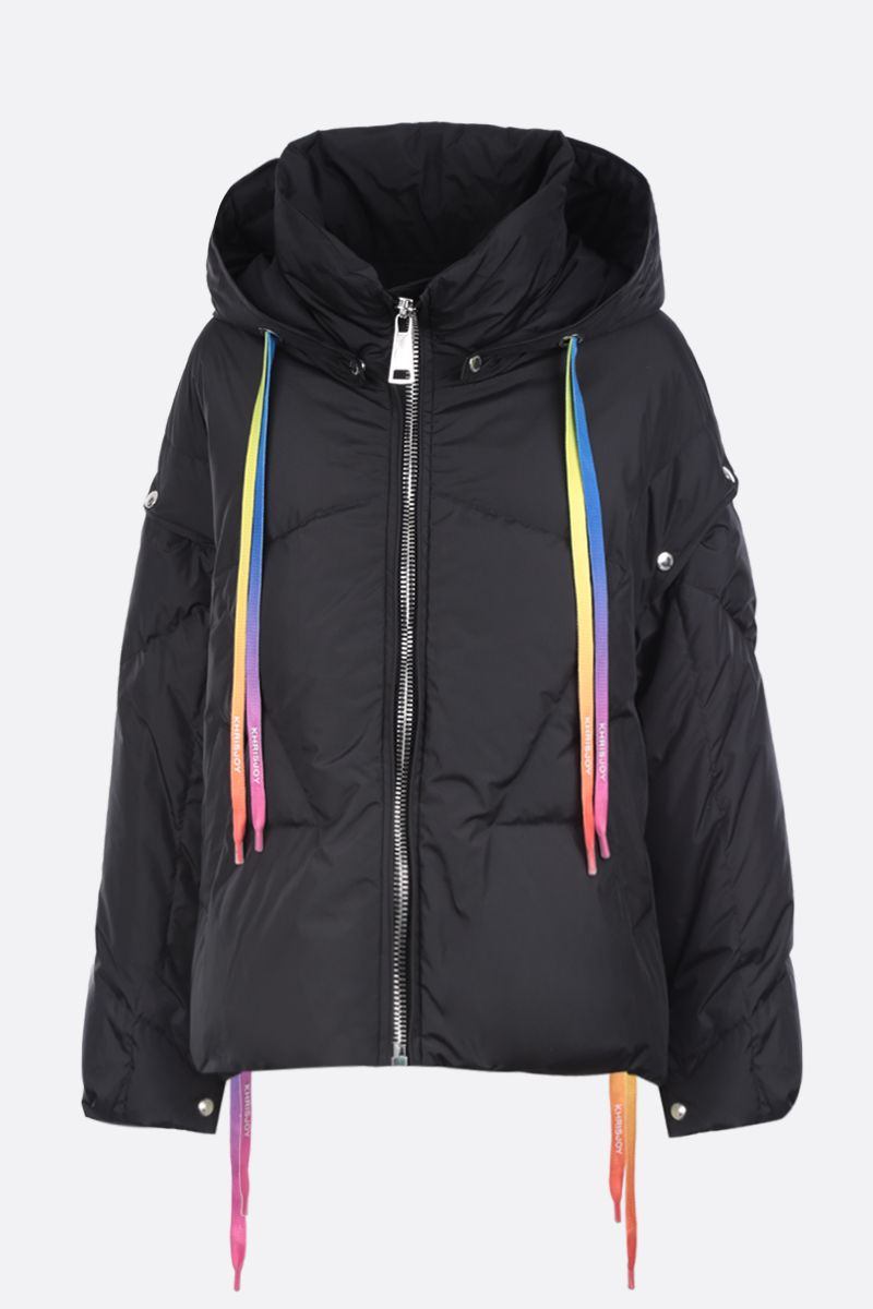 KHRISJOY: Khris puffer jacket in nylon with press-studs detail Color Black_1