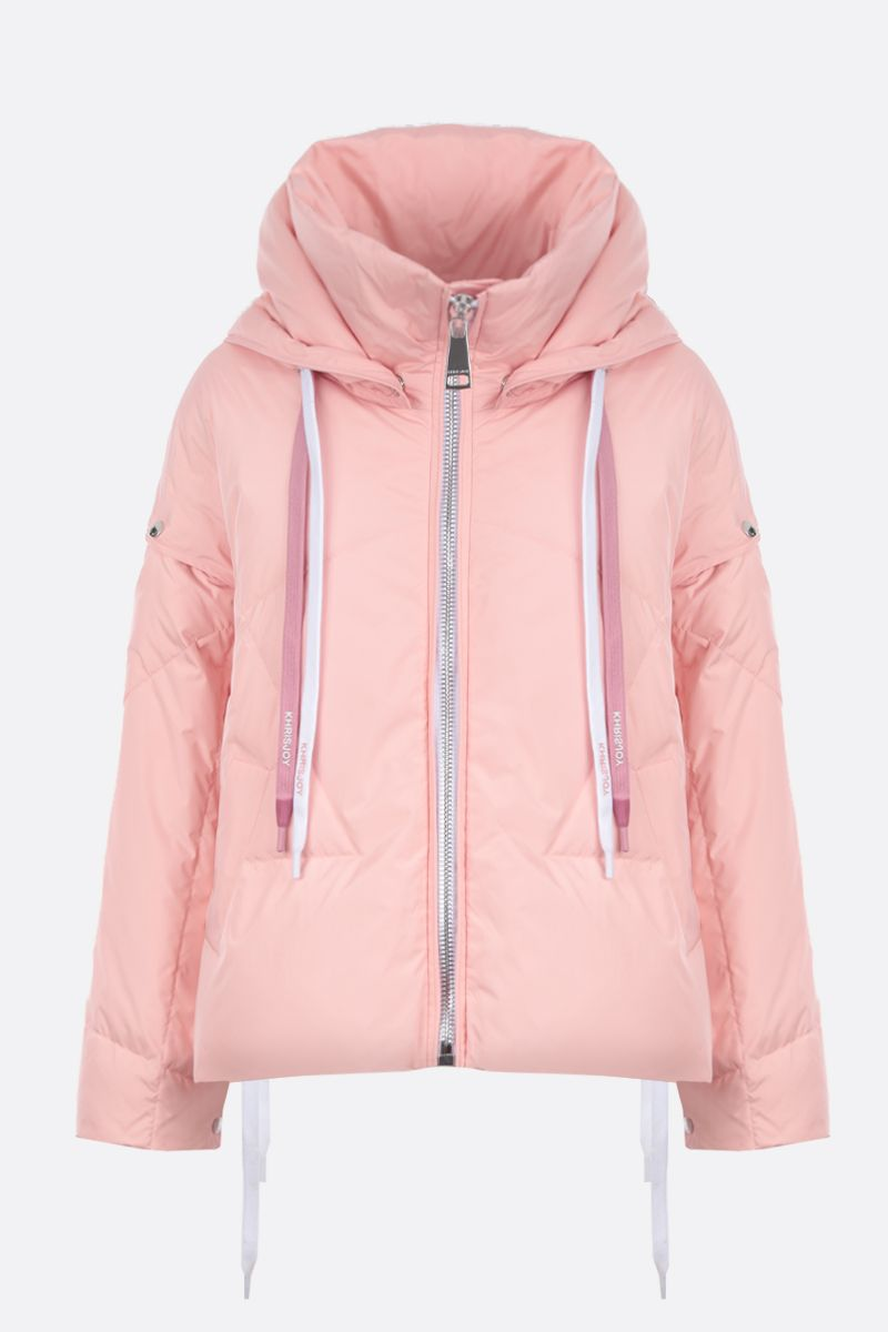 KHRISJOY: Khris puffer jacket in nylon with press-studs detail Color Pink_1