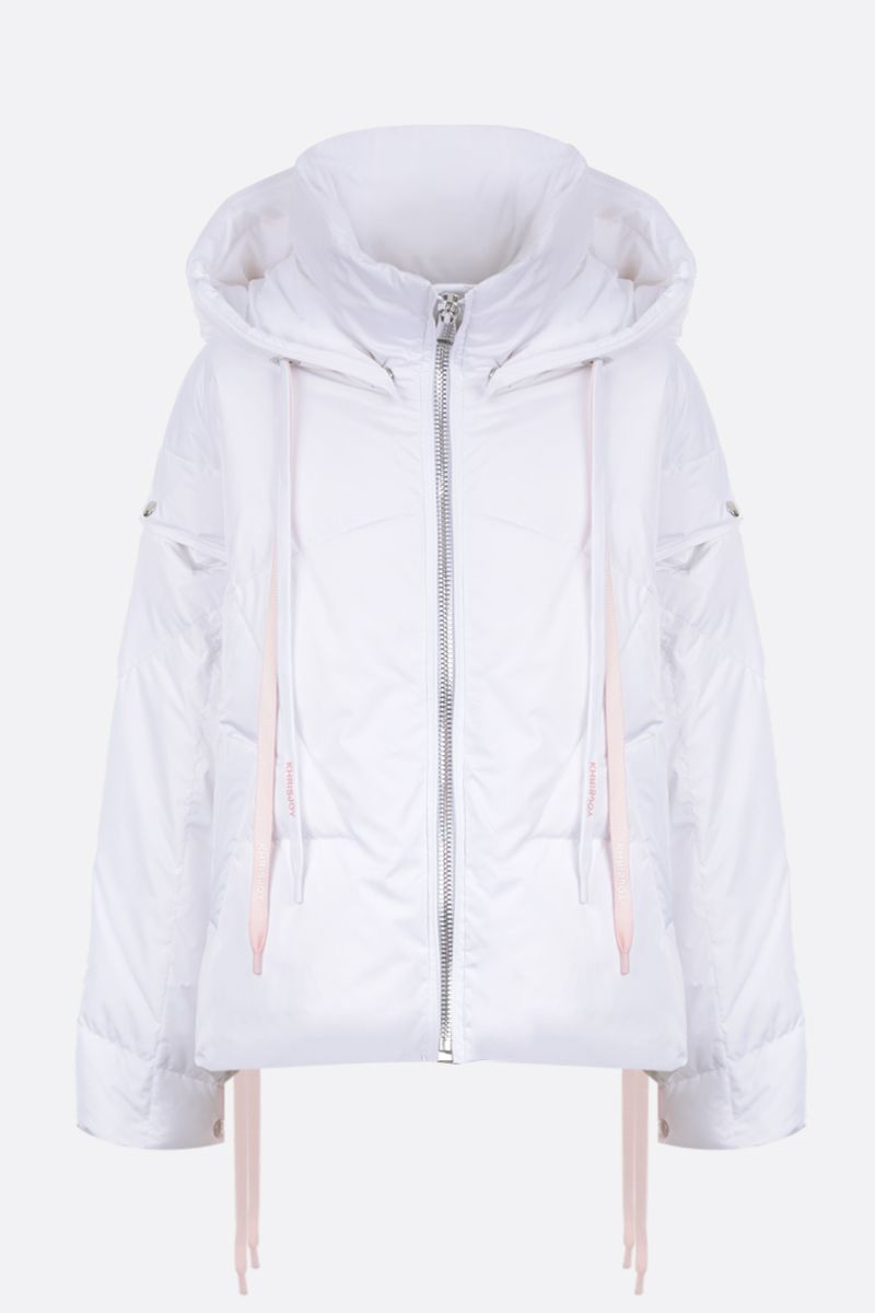 KHRISJOY: Khris puffer jacket in nylon with press-studs detail Color White_1