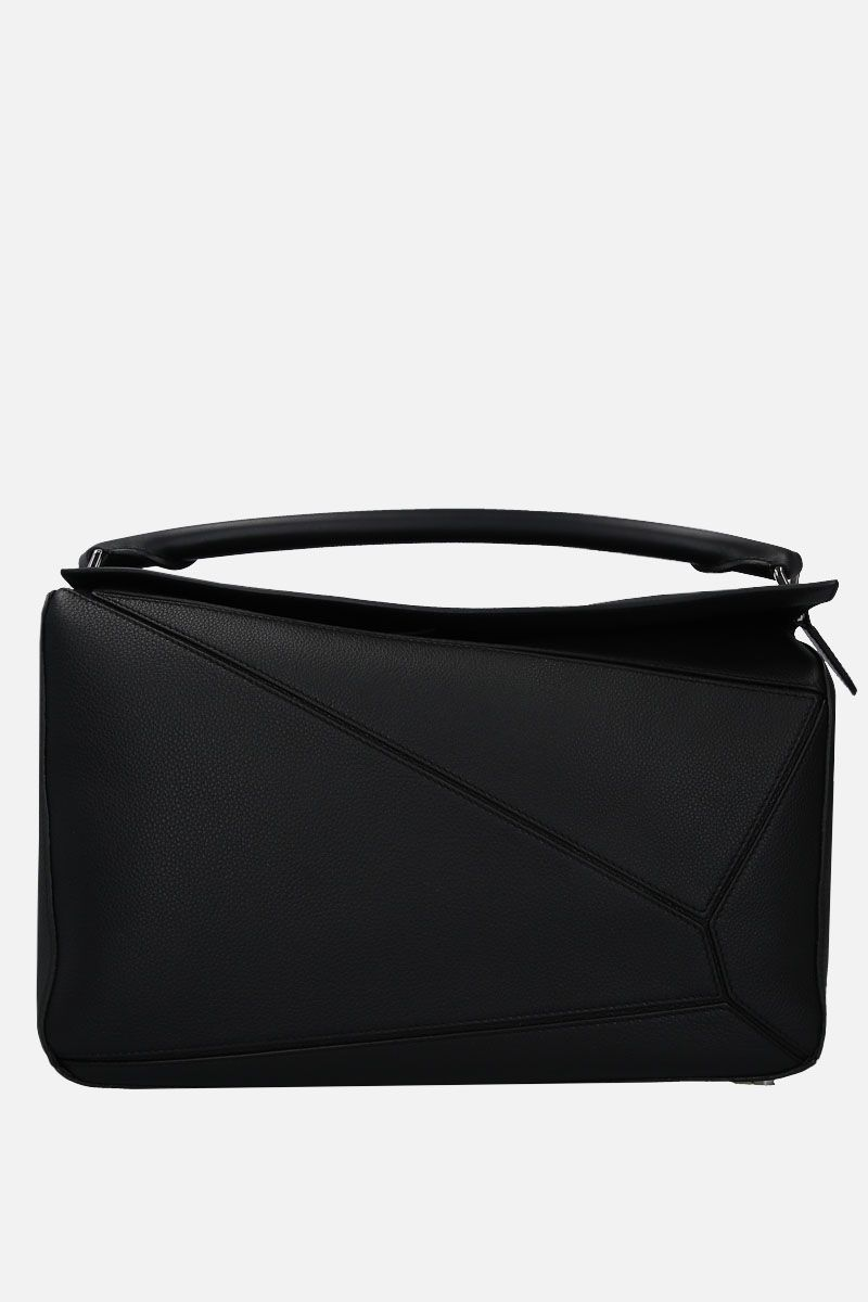 LOEWE: Puzzle large handbag in grainy leather Color Black_1