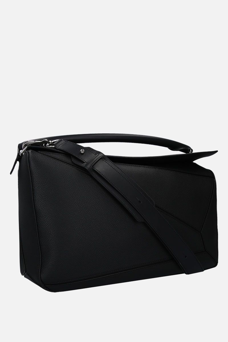 LOEWE: Puzzle large handbag in grainy leather Color Black_2