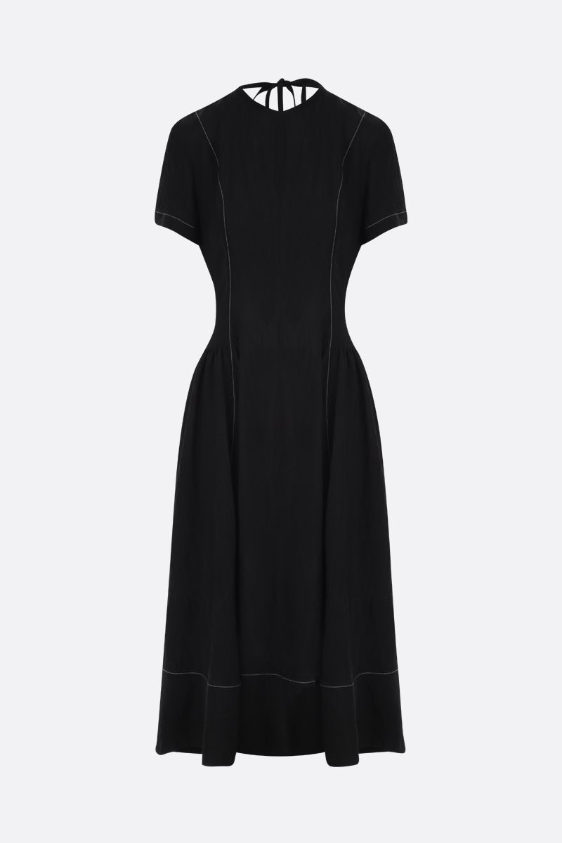 LOEWE: contrast stitching-detailed twill midi dress Color Black_1
