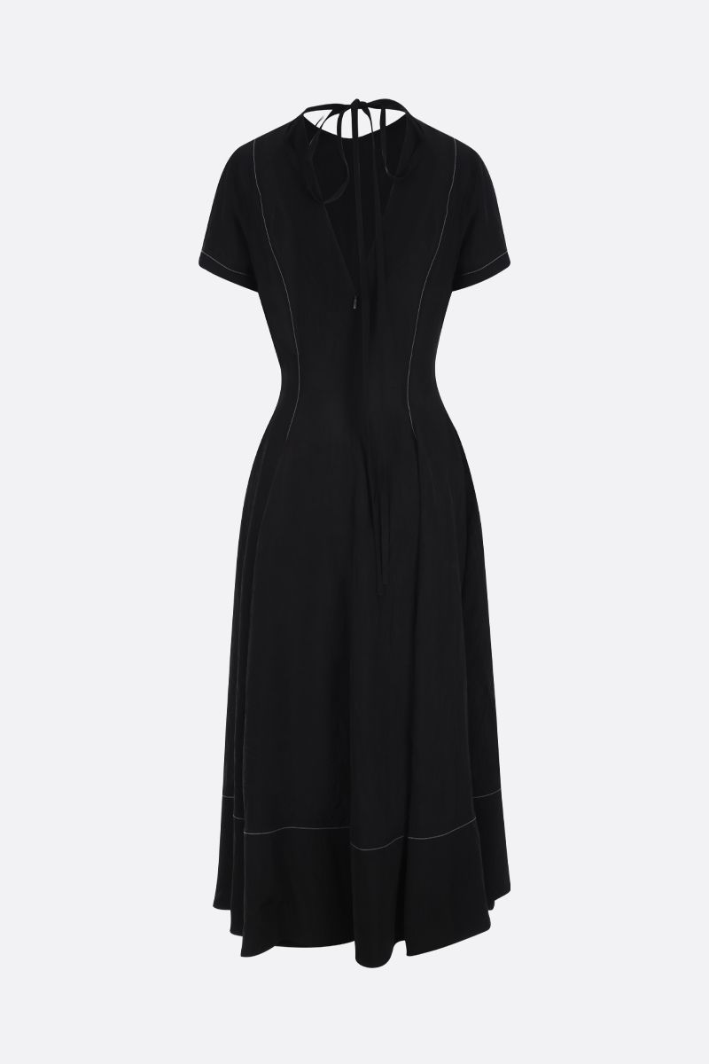 LOEWE: contrast stitching-detailed twill midi dress Color Black_2