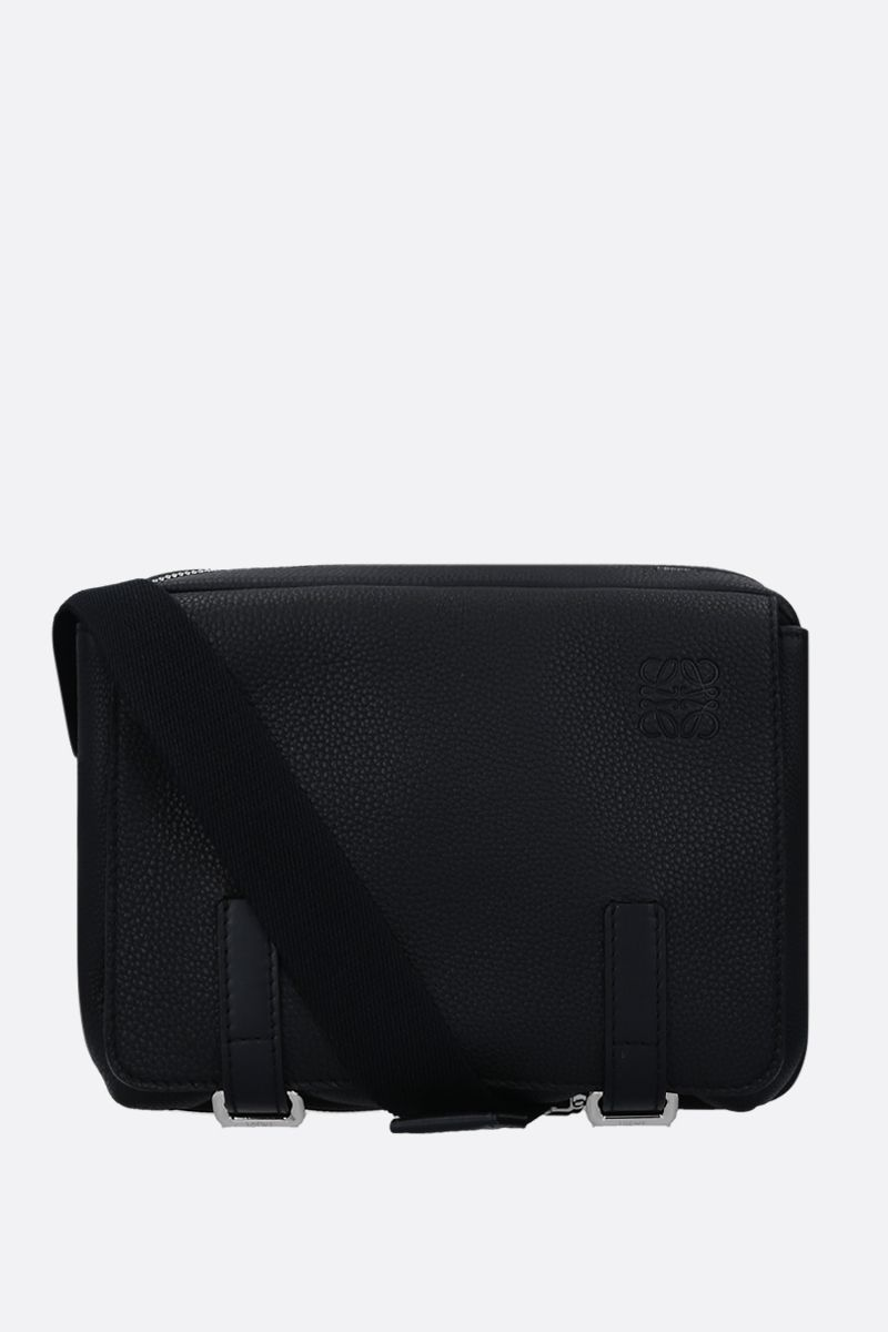 LOEWE: Military XS messenger bag in grainy leather Color Black_1